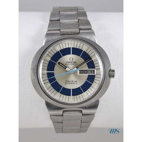 OMEGA (Dynamic Genève - Double date / Silver & Blue réf. 166.079), vers 1970