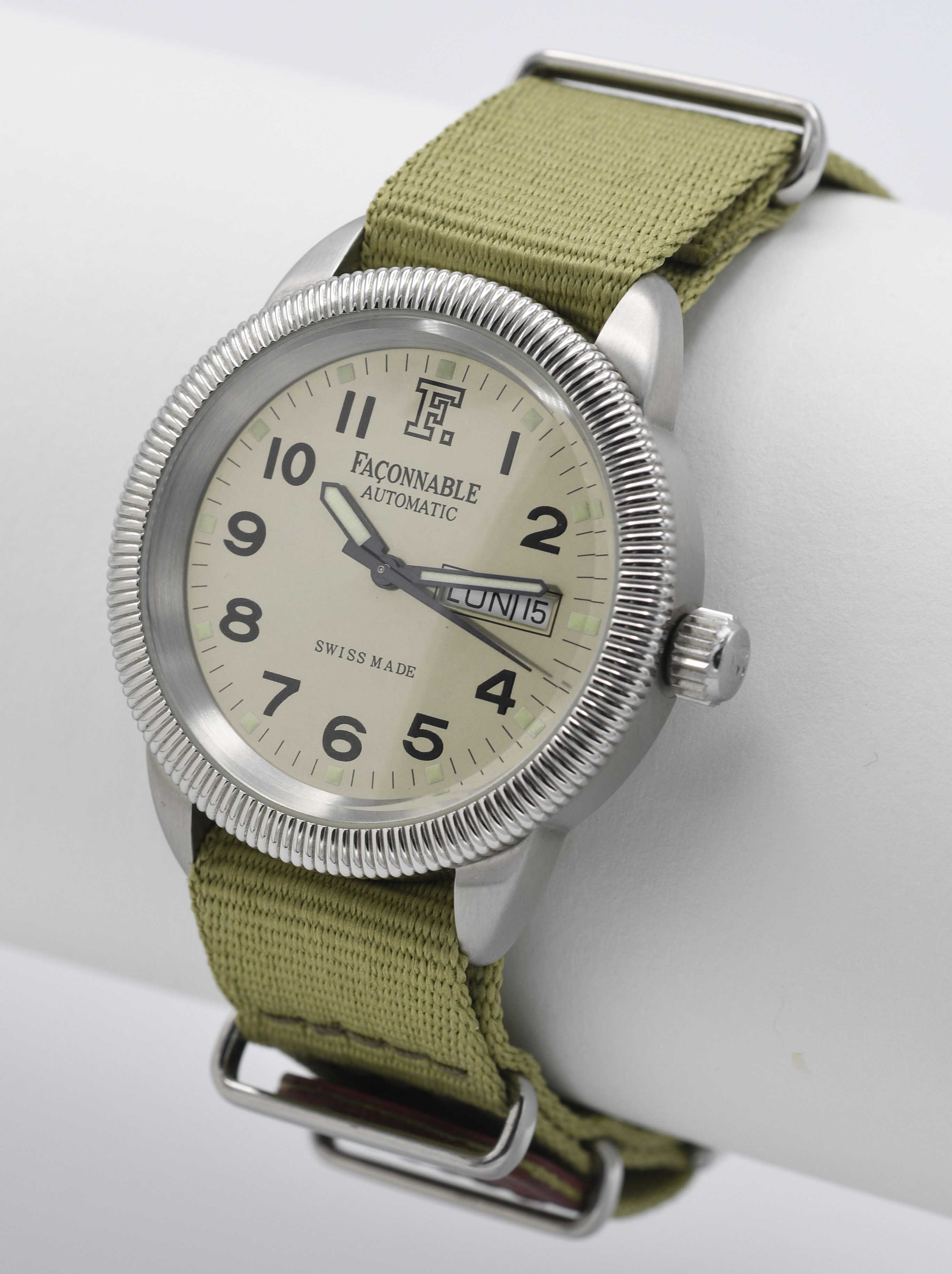 FAÇONNABLE (Automatique - Officier - Silver), vers 2000