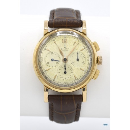 OMEGA Fab Swiss (Chronographe Luxe - Tri Compax / Or jaune) vers 1958