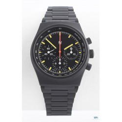 "PRESTIGE WATCH INTERNATIONAL (Chronographe By Orfina Suisse, Black ""Logo only"" / réf. 7183D), vers 1980"