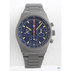 "PRESTIGE WATCH INTERNATIONAL (Chronographe By Orfina Suisse, Gris ""Logo only"" - Cadran bleu / réf. 7183D), vers 1980"
