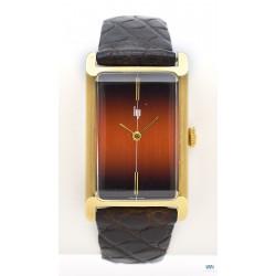 LIP (Lingot Panoramique rectangle GT / Plaqué or - Cadran bronze orangé / ref. 43.302), vers 1975
